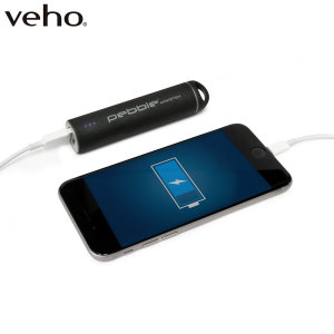 The stylish Pebble Mini Stick emergency portable battery pack and portable charger in black for mobile devices features a 1800mAh power supply, ergonomic design with protective screw on port dust cap.