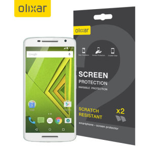 Keep your Motorola Moto X Play screen in pristine condition with this Olixar scratch-resistant screen protector 2-in-1 Pack.