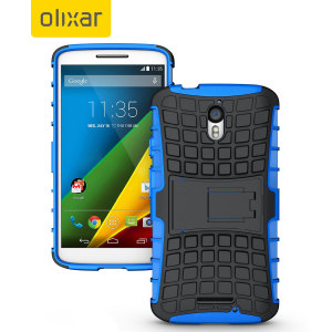 Protect your Motorola Moto X Play with this blue and black Olixar ArmourDillo Protective Case, comprised of an inner TPU case and an outer impact-resistant exoskeleton.