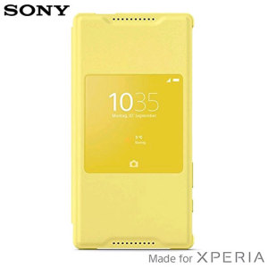 This official SCR44 smart case in yellow from Sony houses your Xperia Z5 Compact smartphone, providing protection and functionality through the incorporated Smart Window, allowing you to view incoming notifications, change your music and even take calls.