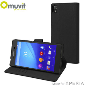 This Wallet Folio Case by Muvit in black houses the Sony Xperia Z5 Premium within a form fitting case and encloses it with a sophisticated cover, that has slots for your credit cards and folds into a media viewing stand.