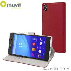 This Wallet Folio Case by Muvit in red houses the Sony Xperia Z5 Premium within a form fitting case and encloses it with a sophisticated cover, that has slots for your credit cards and folds into a media viewing stand.
