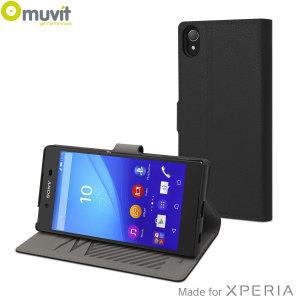 This slim s folio Case by Muvit in black, houses the Sony Xperia Z5 within a form fitting, polycarbonate hard case and encloses it within a sophisticated leather-style cover.