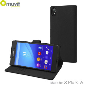 This Wallet Folio Case by Muvit in black houses the Sony Xperia Z5 within a form fitting case and encloses it with a sophisticated cover, that has slots for your credit cards and folds into a media viewing stand.
