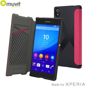 Keep your Sony Xperia Z5 protected from damage and looking fantastic with this executive premium leather-style easy folio case by Muvit in pink.