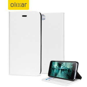 Protect your iPhone 6S / 6 with this durable and stylish white leather-style wallet case from Olixar. What's more, this case transforms into a handy stand to view media.