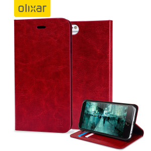 Protect your iPhone 6S / 6 with this durable and stylish red leather-style wallet case from Olixar. What's more, this case transforms into a handy stand to view media.