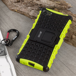 Protect your Sony Xperia Z5 Compact from bumps and scrapes with this green ArmourDillo case from Olixar. Comprised of an inner TPU case and an outer impact-resistant exoskeleton, with a built-in viewing stand.
