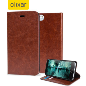Protect your iPhone 6 Plus / 6 Plus with this durable and stylish brown leather-style wallet case. What's more, this case transforms into a handy stand to view media.