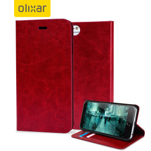 Protect your iPhone 6 Plus / 6 Plus with this durable and stylish red leather-style wallet case. What's more, this case transforms into a handy stand to view media.