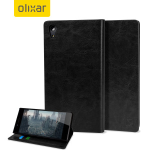 A sophisticated lightweight black leather-style case with a magnetic fastener for ease of use. The Olixar leather-style wallet case offers perfect protection for your 'Sony Xperia Z5 Premium' and also includes a built-in stand.