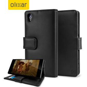 A sophisticated lightweight black genuine leather case with a magnetic fastener. The Olixar genuine leather wallet case offers perfect protection for your Sony Xperia Z5 Premium, as well as slots for your cards, cash and documents.