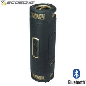 Enjoy superior sound in every direction without the need for wires with the stylish and portable Scosche boomBOTTLE+ waterproof bluetooth speaker in black and gold. Rugged, versatile and function packed. It's all you'll ever need.