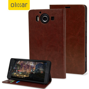 Sophisticated and lightweight, this brown leather-style wallet case is the ideal companion for your Microsoft Lumia 950. The Olixar leather-style wallet case offers perfect protection for your 950, as well as featuring slots for your cards and cash.