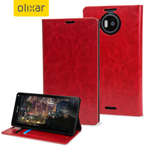 Sophisticated and lightweight, this red leather-style wallet case is the ideal companion for your Microsoft Lumia 950 XL. The Olixar leather-style wallet case offers perfect protection for your 950 XL, as well as featuring slots for your cards and cash.