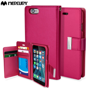 With the perfect blend of elegance, functionality and protection, this luxurious wallet case from Mercury in hot pink is the ideal companion for your iPhone 6S Plus / 6 Plus. Featuring 5 card slots and a document pocket you can carry more easily.