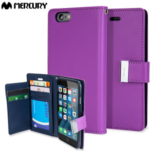 With the perfect blend of elegance, functionality and protection, this luxurious wallet case from Mercury in purple is the ideal companion for your iPhone 6S Plus / 6 Plus. Featuring 5 card slots and a document pocket you can carry more easily.