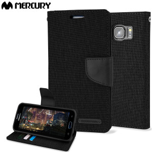 With the perfect blend of lightweight and tough materials, mixed with snappy looks, this black Mercury Canvas Diary Wallet Case is the ideal companion for your Samsung Galaxy S6 - Especially when you're out and about.