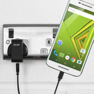 Charge your Motorola Moto X Play quickly and conveniently with this 2.4A high power charging kit. Featuring mains adapter and USB cable.