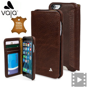 Treat your iPhone 6S / 6 to exquisite handmade craftsmanship and the highest quality materials. Featuring genuine tanned bridge leather and 3 card slots, the Vaja Wallet Agenda premium leather case in brown is something special.