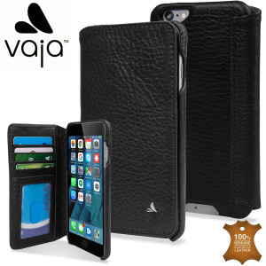 Funda iPhone 6s Plus Vaja Wallet Agenda de Piel - Negra