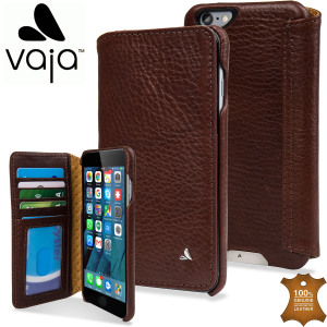 Treat your iPhone 6S Plus / 6 Plus to exquisite handmade craftsmanship and the highest quality materials. Featuring genuine tanned bridge leather and 3 card slots, the Vaja Wallet Agenda premium leather case in brown is something special.