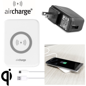 Wirelessly charge your Qi compatible smartphone or tablet with the aircharge Slimline Qi Wireless Charging Pad with US plug. Extremely discrete and portable, the Slimline enables you to easily charge wirelessly in any environment.