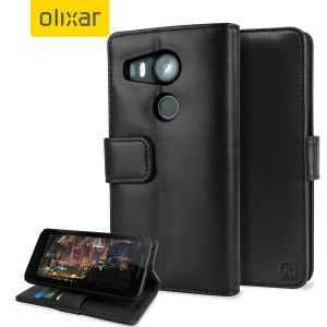 A sophisticated lightweight black genuine leather case with a magnetic fastener. The Olixar Premium genuine leather wallet case offers perfect protection for your Nexus 5X, as well as featuring slots for your cards, cash and documents.