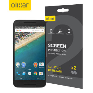 Keep your Nexus 5X screen in pristine condition with this Olixar scratch-resistant screen protector 2-in-1 pack.