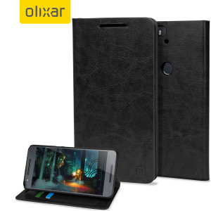 A sophisticated lightweight black leather-style case with a magnetic fastener for ease of use. The Olixar leather-style wallet case offers perfect protection for your Nexus 6P and also includes a built-in stand.