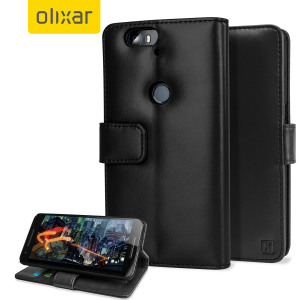 A sophisticated lightweight black genuine leather case with a magnetic fastener. The Olixar Premium genuine leather wallet case offers perfect protection for your Nexus 6P, as well as featuring slots for your cards, cash and documents.