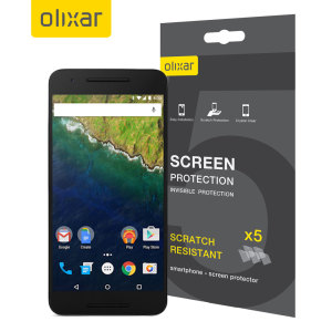 Keep your Nexus 6P screen in pristine condition with this Olixar scratch-resistant screen protector 5-in-1 pack.