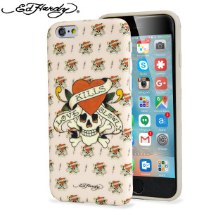 """From world famous designer label Ed Hardy comes an iPhone 6S / 6 shell case featuring a striking, eye-catching and tough looking """"Love Kills Slowly"""" tattoo design. Finished with a soft touch finish for extra grip."""