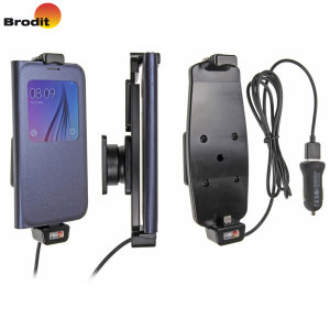 Charge and use your Samsung Galaxy S6 in your vehicle with this slim case compatible Brodit active holder with tilt swivel. Also includes cig-plug with universal USB charging port.