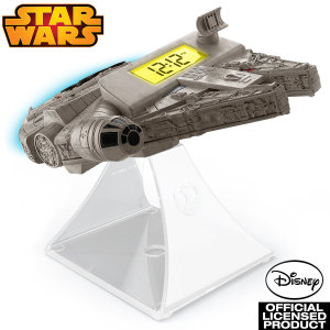 She's the fastest hunk o' junk in the galaxy and now the coolest radio alarm clock too! Don't miss a trick with the Star Wars Episode VII Millennium Falcon Night Glow Alarm Clock - with special sound effects!