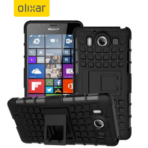 Protect your Microsoft Lumia 950 from bumps and scrapes with this black ArmourDillo case. Comprised of an inner TPU case and an outer impact-resistant exoskeleton, offering sturdy and robust protection, but also a sleek modern styling.