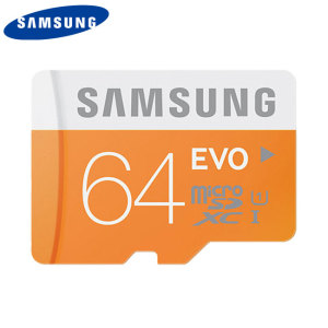 Full HD compliant Class 10 performance Micro SD Card. The 64GB Samsung Micro SDXC Evo card safely and effectively stores all of your precious data, images, video and more. Also includes an SD adapter for use with even more devices.