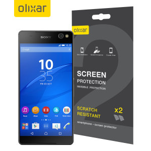 Keep your Sony Xperia C5 Ultra screen in pristine condition with this Olixar scratch-resistant screen protector 2-in-1 pack.