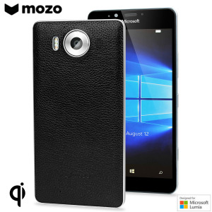 This elegant black with silver rim wireless charging back cover with NFC is beautifully crafted in genuine leather with a slim look which offers protection for the Microsoft Lumia 950. Replacing the original back cover with a classy genuine leather design