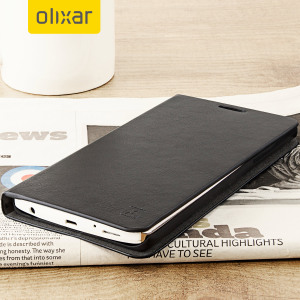 Protect your LG V10 with this durable and stylish black leather-style wallet case by Olixar. What's more, this case transforms into a handy stand to view media and has storage slots for your cards.