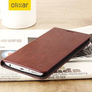 Olixar läderstils fodral i brunt fäster på baksidan av din LG V10 och ger ett elegant skydd och kan användas för att hålla dina betalkort.