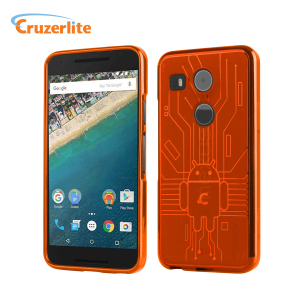 Keep your Nexus 5X protected from damage with this Android-circuitry inspired, durable orange coloured TPU case by Cruzerlite.