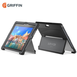 All the protection of a Griffin Survivor in a slimline package for your Microsoft Surface Pro 4. Featuring tough, rugged multi-layered protection, the Griffin Survivor Slim in black provides exceptional protection and a media kickstand.