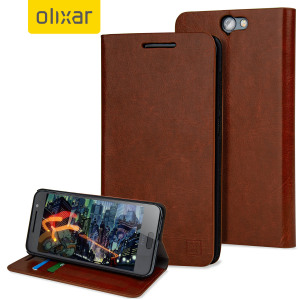 A sophisticated lightweight brown leather-style case with a magnetic fastener for ease of use. The Olixar leather-style wallet case offers perfect protection for your HTC One A9 and also includes a built-in stand.