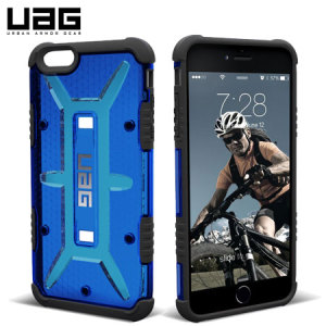The Urban Armour Gear maverick cobalt blue tough case for the iPhone 6S Plus / 6 Plus features a protective TPU case with a brushed metal UAG logo insert for an amazing design.