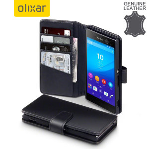 A sophisticated lightweight black genuine leather case with a magnetic fastener. The Olixar Premium genuine leather wallet case offers perfect protection for your Sony Xperia M5, as well as featuring slots for your cards, cash and documents.
