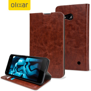 Protect your Microsoft Lumia 550 with this durable and stylish brown leather-style wallet case from Olixar.
