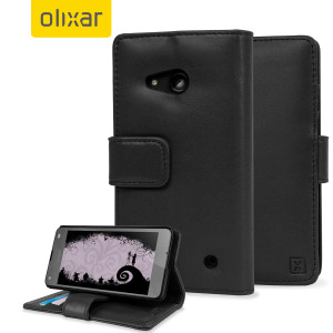 A sophisticated lightweight black genuine leather case with a magnetic fastener. The Olixar Premium genuine leather wallet case offers perfect protection for your Microsoft Lumia 550, as well as featuring slots for your cards, cash and documents.