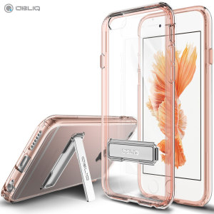 Keep your iPhone 6/6S protected from damage with the durable and attractive clear and rose gold polycarbonate shell case from Obliq.