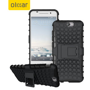 Protect your HTC One A9 from bumps and scrapes with this black ArmourDillo case by Olixar. Comprised of an inner TPU case and an outer impact-resistant exoskeleton, with a built in viewing stand.